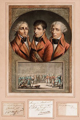 Jean Duplessis-Bertaux: Napoleon I, Cambacérès & Lebrun: A group portrait of the three consuls, above view of Senate Chamber