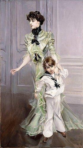 Giovanni Boldini: Porträt von Madame Hugomit ihrem Sohn