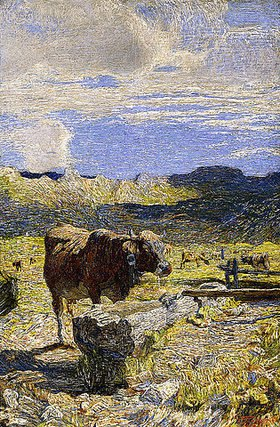 Giovanni Segantini: Brauen Kuh an einer Tränke (Vaca bruna all' Abbeveratoio)
