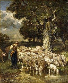 Charles Emile Jacque: Ein Schäfer hütet seine Herde