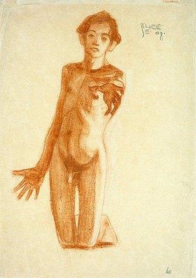Egon Schiele: Kniender junger Mann