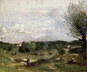 Jean-Baptiste Camille Corot: Grasland mit Kühen, rechts eine Weide und ein Dorf in der Ferne (Prairie avec des Vaches, un Saule à droite et un Village lointain)