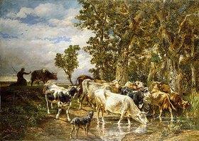 Charles Emile Jacque: Kuhherde an der Tränke (Troupeau de Vaches à l'Abreuvoir)