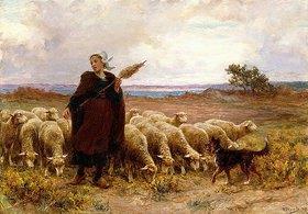 Théophile-Louis Deyrolle: Schäferin mit ihrer Herde