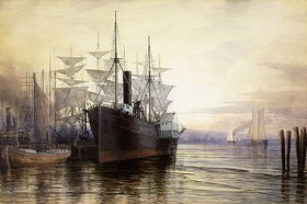 Henry Farrer: Abendlicht im Hafen von New York