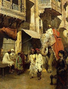 Edwin Lord Weeks: Ausritt auf einer indischen Straße