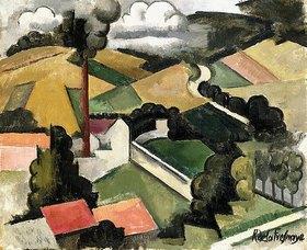Roger de la Fresnaye: Der Fabrikschornstein, Landschaft von Meulan (La Cheminée d'usine, Paysage de Meulan)