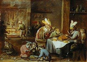 David Teniers: Mahlzeit kostümierter Affen