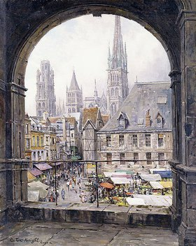 Louis Aston Knight: Der Marktplatz in Rouen