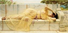 John William Godward: Junges Mädchen in einem gelben Gewand