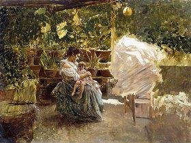 Salvatore Postiglione: Mutter und Kind auf einer Veranda