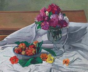 Felix Vallotton: Stillleben mit Blumen und Erdbeeren