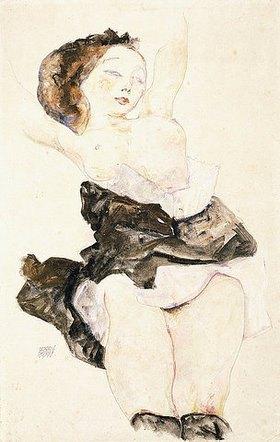 Egon Schiele: Liegendes junges Mädchen, Halbakt