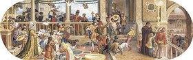 Riccardo Meacci: Ein florentinisches Fest: Verfüttern der Reste an die Tiere und ein Tisch für die Armen (aus einer Folge von 6 Werken, siehe auch Bildnummern 42741-42744+42746)