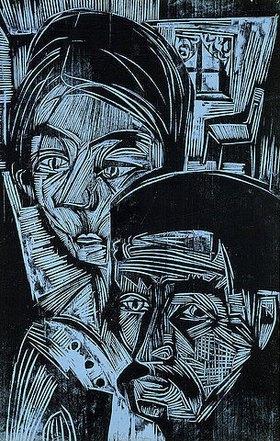 Ernst Ludwig Kirchner: Bauernpaar in der Hütte