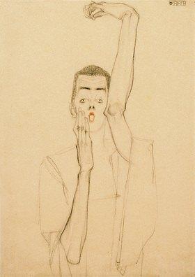 Egon Schiele: Selbstbildnis mit erhobenem linken Arm und rotem Mund