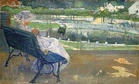 Mary Cassatt: Lydia auf einer Veranda, häkelnd (Lydia Seated on a Porch, Crocheting)