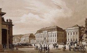 Karl Loeillot-Hartwig: Unter den Linden, Berlin. Blick von der Neuen Wache zum Kronprinzenpalais mit dem Prinzessinnenpalais rechte und der Kommandatur links