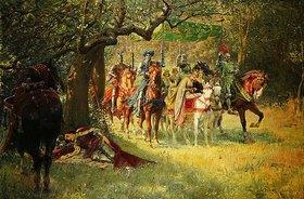 William Frank Calderon: Wie vier Königinnen Sir Lancelot schlafend vorfanden (How Four Queens Found Sir Lancelot Sleeping)