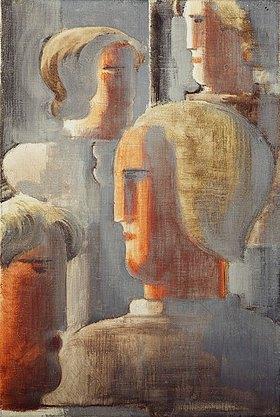 Oskar Schlemmer: Vier Köpfergruppe Graublau, Folkwang-Studie III
