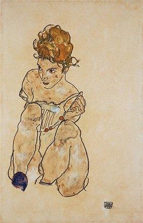 Egon Schiele: Sitzendes Mädchen in Unterkleid