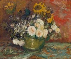 Vincent van Gogh: Schale mit Sonnenblumen, Rosen und anderen Blumen