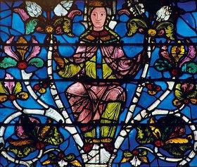 Französisch: Westfenster mit dem Baum Jesse, die Abstammung Jesu zeigend. Um 1150. Detail: Jungfrau Mari