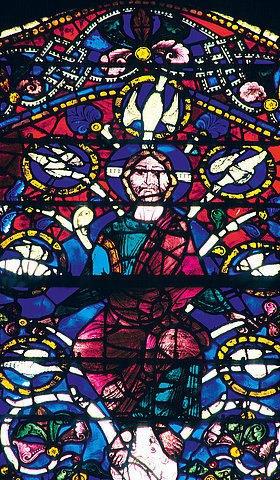 Französisch: Westfenster mit dem Baum Jesse, die Abstammung Jesu zeigend. Um 1150. Detail: Jesus Christus