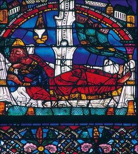Französisch: Westfenster mit dem Baum Jesse, die Abstammung Jesu zeigend. Um 1150. Detail: Schlafender Jesse