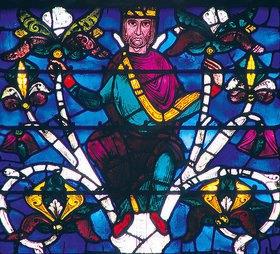 Französisch: Westfenster mit dem Baum Jesse, die Abstammung Jesu zeigend. Um 1150. Detail
