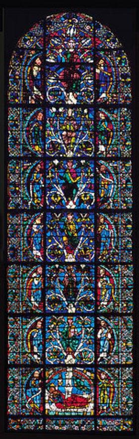 Französisch: Westfenster mit dem Baum Jesse, die Abstammung Jesu zeigend