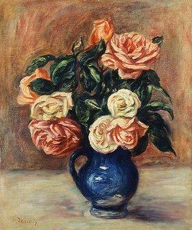 Auguste Renoir: Rosen in einer blauen Vase