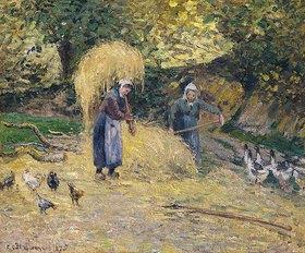Camille Pissarro: Bäuerinnen beim Tragen des Strohs, Montfoucault (Paysannes portant de la paille, Montfoucault)