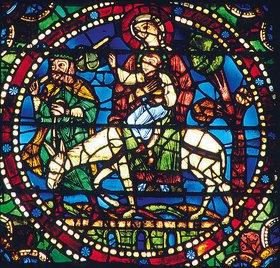 Französisch: Mittleres Westfenster mit Kindheit und Leben Christi. Um 1145-1155. Detail: Die Rückkehr von der Flucht nach Ägypten