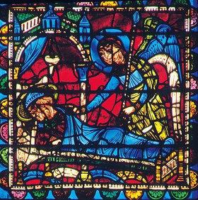 Französisch: Mittleres Westfenster mit Kindheit und Leben Christi. Um 1145-1155. Detail: Der dritte Traum Josefs während der Flucht nach Ägypten, in dem ein Engel ihm verkündet, er könne nach Israel zurückkehren