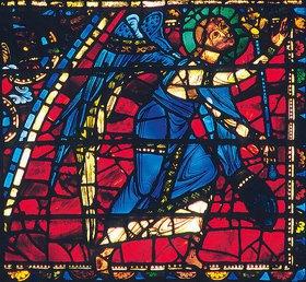 Französisch: Mittleres Westfenster mit Kindheit und Leben Christi. Um 1145-1155. Detail: Engel