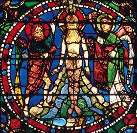 Französisch: Mittleres Westfenster mit Kindheit und Leben Christi. Um 1145-1155. Detail: Die Taufe Christi im Jordan