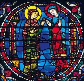 Französisch: Mittleres Westfenster mit Kindheit und Leben Christi. Um 1145-1155. Detail: Mariä Heimsuchung