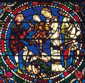 Französisch: Mittleres Westfenster mit Kindheit und Leben Christi. Um 1145-1155. Detail: Der Kindermord in Bethlehem