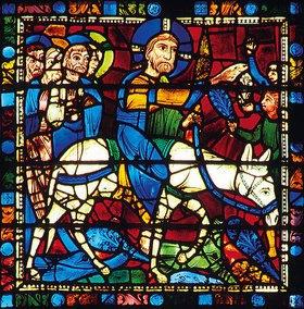 Französisch: Mittleres Westfenster mit Kindheit und Leben Christi. Um 1145-1155. Detail: Der Einzug Jesu in Jerusalem