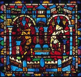 Französisch: Mittleres Westfenster mit Kindheit und Leben Christi. Um 1145-1155. Detail: Tempel mit stürzenden Dämonen
