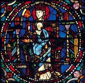 Französisch: Mittleres Westfenster mit Kindheit und Leben Christi. Um 1145-1155. Detail: Thronende Madonna
