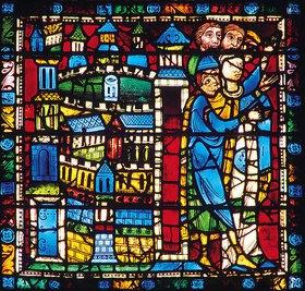 Französisch: Mittleres Westfenster mit Kindheit und Leben Christi. Um 1145-1155. Detail: Die Bevölkerung von Nazareth empfängt Jesus bei seine Rückkehr von der Flucht nach Ägypten