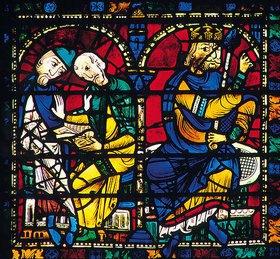 Französisch: Mittleres Westfenster mit Kindheit und Leben Christi. Um 1145-1155. Detail: Zwei Gelehrte studieren die Heilige Schrift, um Herodes vorauszusagen, wo der König der Juden geboren wird