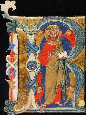 Unbekannter Künstler: Christus, der Erlöser - Initiale 'R' aus einer illuminierten Handschrift