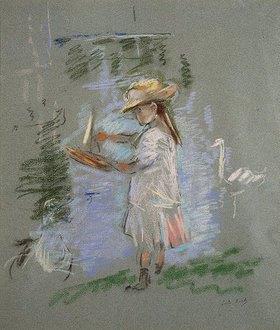 Berthe Morisot: Julie in Rosa an einem Seeufer (recto) (Julie en Rose au Bord du Lac (recto))