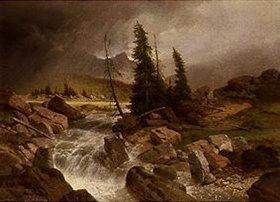 Albert Zimmermann: Gebirgslandschaft vor dem Sturm
