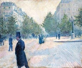 Gustave Caillebotte: Der Place Saint-Augustin bei diesigem Wetter (La Place Saint-Augustin, temps brumeux)