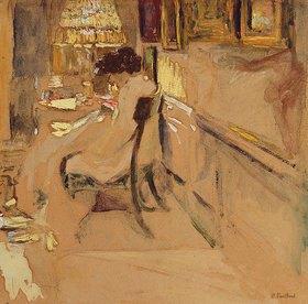 Edouard Vuillard: Madame Hessel beim Nähen unter einer Lampe
