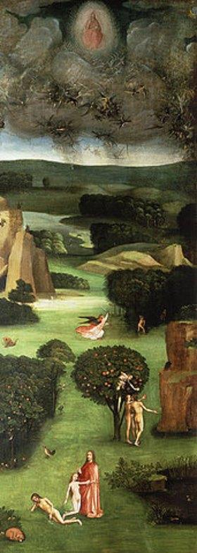 Hieronymus Bosch: Weltgerichts-Triptychon. Linker Flügel: Engelsturz, Erschaffung Evas,Sündenfall, Vertreibung